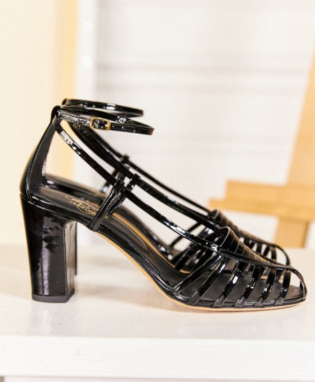 Sandales Audrey - Noir Verni